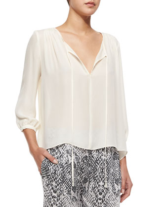 Safara Tie-Front Blouse, Ivory