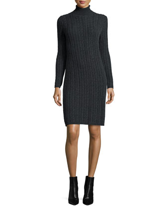 Cashmere Cable-Knit Turtleneck Dress