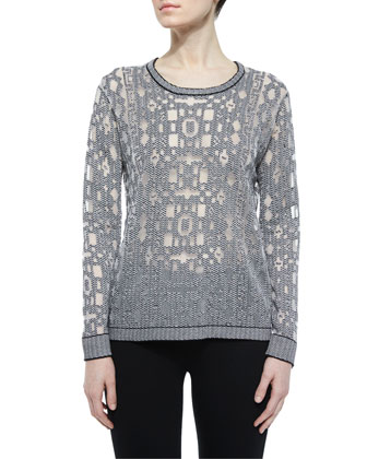 Robinette Geometric Pullover Sweater, Black/White