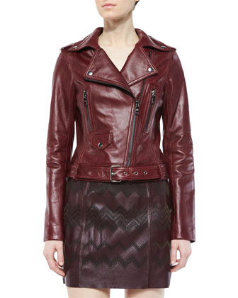 Belfast Asymmetric Leather Jacket, Allure
