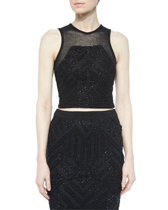 Beaded Keene Cropped Tank & Sandia Pencil Skirt, Black
