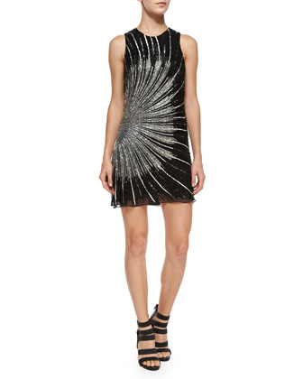 Beaded Allegra Sheath Dress, Black