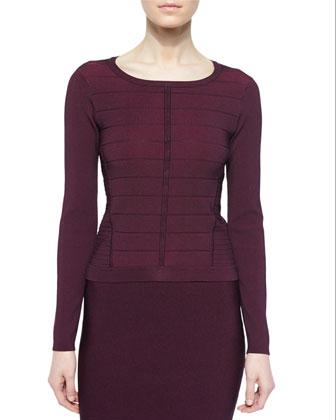 Vicki Striped Braided-Back Sweater, Allure