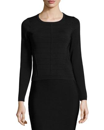 Vick Long-Sleeve Banded Sweater & Laura High-Waist Pencil Skirt