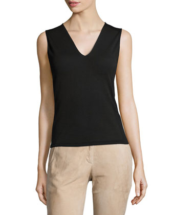 Ginnie Sleeveless Ponte Top, Black