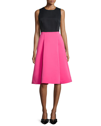 colorblock bow-back fit-and-flare dress