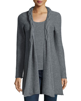 Reverse Braided Cashmere Cardigan