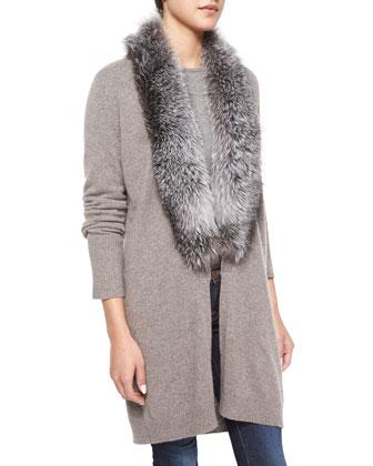 Fox Fur-Trim Cashmere Cardigan