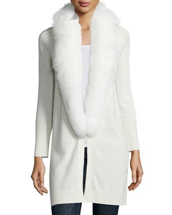 Fur-Trim Cashmere Cardigan, White