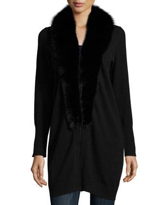 Fur-Trim Cashmere Cardigan, Black