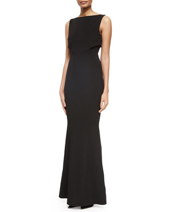 Sleeveless Hadley Cape-Back Gown, Black