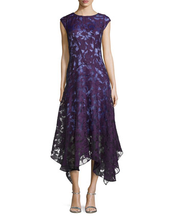 Miriam Cap-Sleeve Lace Handkerchief Dress