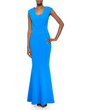 Emily Cap-Sleeve Mermaid Gown, Azul