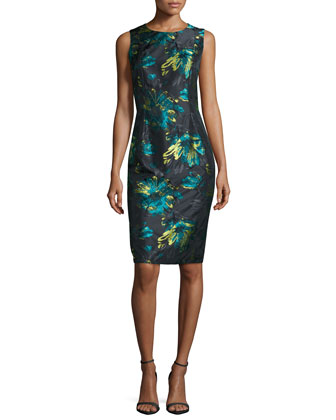 Floral Brocade Sheath Dress, Black/Peacock