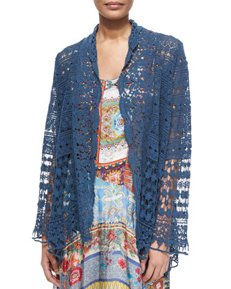 Short Crochet Jacket & Morelli Mix-Print Dress