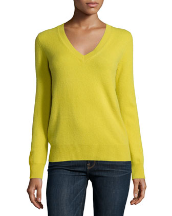 Long-Sleeve Deep V-Neck Cashmere Top, Women's