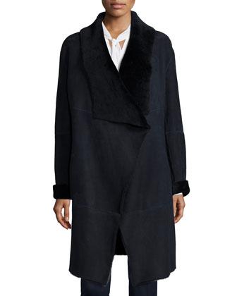 Felice Seamed Lamb Fur Coat, Louise Tie-Neck Silk Blouse & Stanton ...