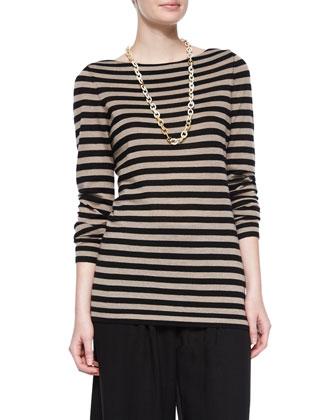 Striped Merino Wool Long-Sleeve Top & Wide-Leg Cropped Pants, Petite
