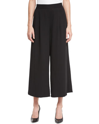 Woven Tencel?? Grain Wide-Leg Cropped Pants