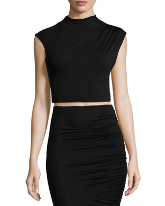 Draped Jersey Crop Top & Gathered Jersey Pencil Skirt