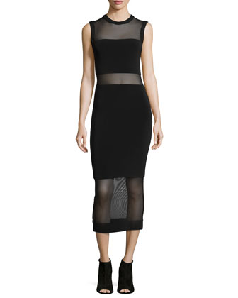 Sleeveless Sheer-Inset Midi Dress, Black