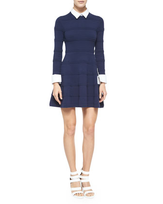Textured-Stripe Dress w/Collar and Cuffs, Navy