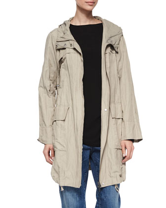 Textured Hooded Metallic Anorak Jacket, Petite