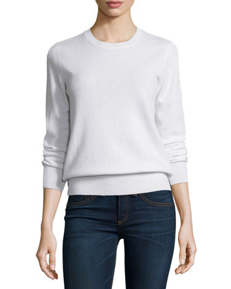 Long-Sleeve Crewneck Cashmere Sweater, Women's