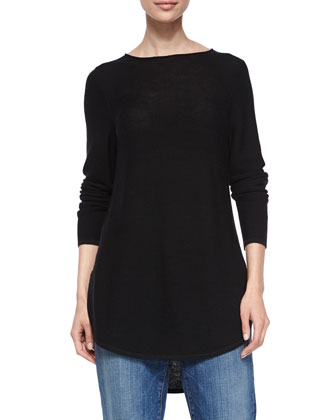 Long-Sleeve Merino Wool Tunic, Black