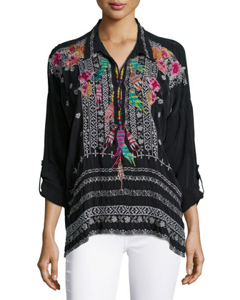 Indie Feather-Embroidered Blouse, Women's