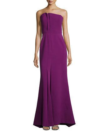 Strapless Fold-Detail Mermaid Gown
