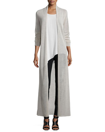 Washable Merino Wool Maxi Cardigan, Silk Asymmetric Draped Shell & Stretch ...