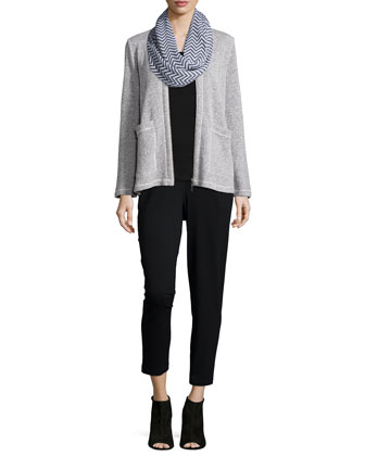 Twisted Two-Zip Short Jacket, Chevron Jacquard Infinity Scarf, Organic ...