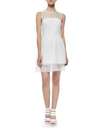 Sleeveless Glacier Wave Jacquard Dress, White