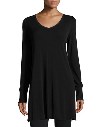 V-Neck Long-Sleeve Tunic, Black, Women's