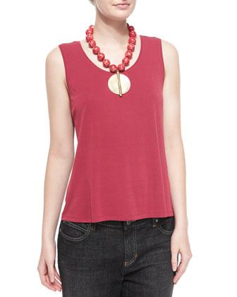 Silk-Jersey Tank Top, Red Saffron, Women's