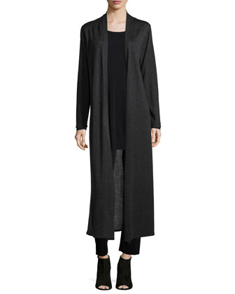Merino Wool Maxi Cardigan, Charcoal, Women's