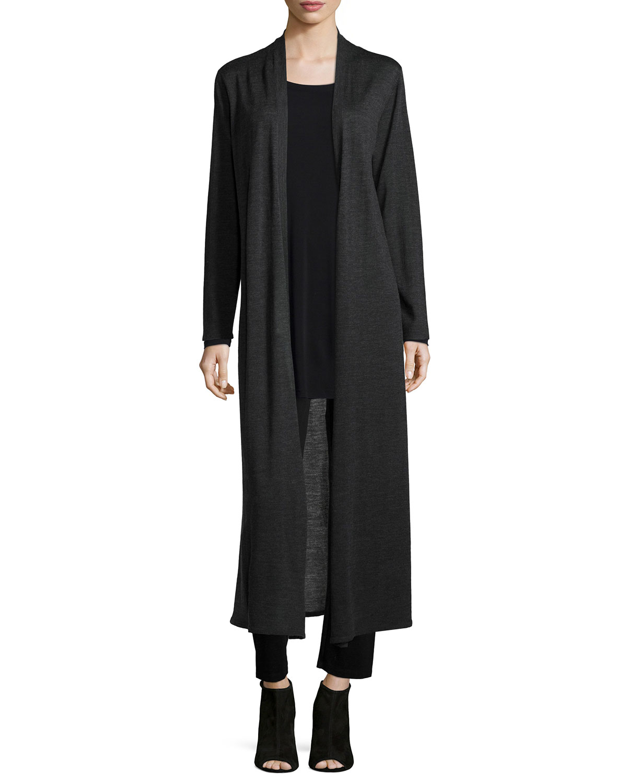 Merino Wool Maxi Cardigan, Charcoal (Grey), Women's, Size: 2XL - Eileen Fisher