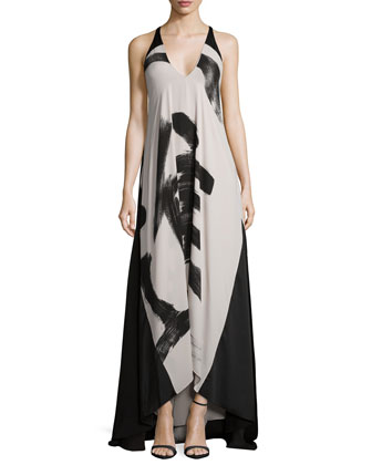 Sleeveless Calligraphy-Print Flowy Dress