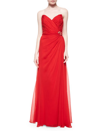 Strapless Sweetheart Beaded-Pinned Gown