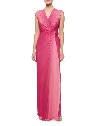 Cap-Sleeve Ruched Ombre Gown, Rose