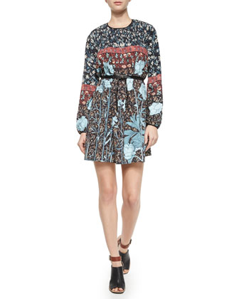 Bohemian Rhapsody Floral Chiffon Dress, Black/Multicolor
