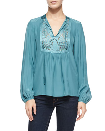 Laser-Cut-Bib Peasant Top, Teal