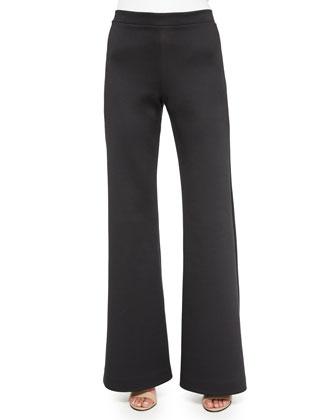 Flare-Leg Scuba Jersey Pants, Black