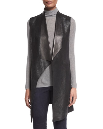 Melissa Long Distressed Leather Vest, Remmi Long-Sleeve Turtleneck Sweater ...