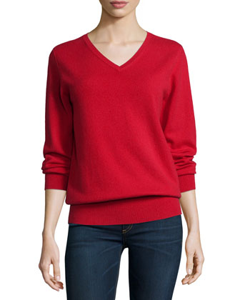 Long-Sleeve V-Neck Relaxed-Fit Cashmere Sweater, Women's