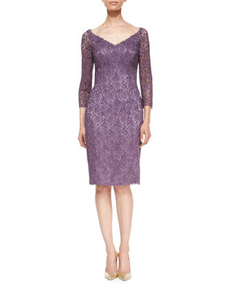 3/4-Sleeve Floral Lace Cocktail Dress, Mauve