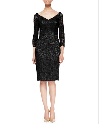 3/4-Sleeve Floral Lace Cocktail Dress, Black