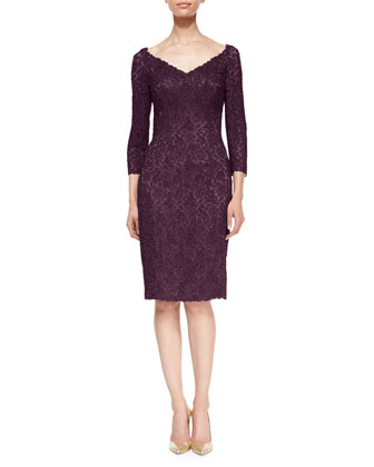 Three-Quarter-Sleeve Floral Lace Cocktail Dress, Mauve