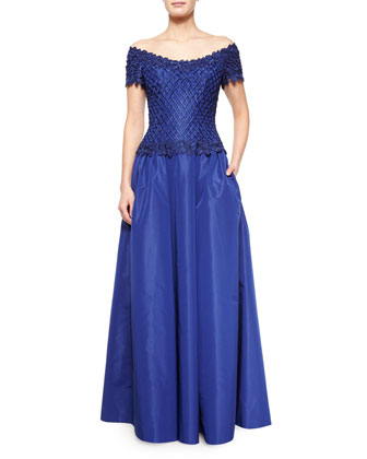 Off-The-Shoulder Lace Taffeta Gown, Cobalt